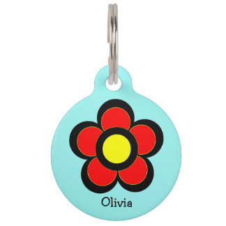Colorful Red and Yellow Graphic Art Daisy Pet Tag