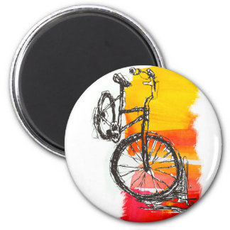 Colorful Red Bike 2 Inch Round Magnet