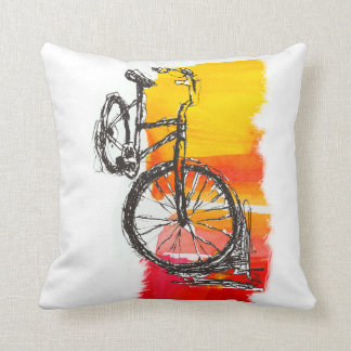 Colorful  Red Bike Drawing Throw Pillow