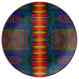 Colorful red blue yellow abstract porcelain plate