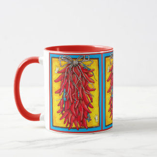 Colorful Red Chile Ristra Southwest Mug Lizard