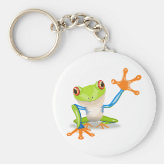 Colorful Red-Eyed Tree Frog Reaching Out Keychains