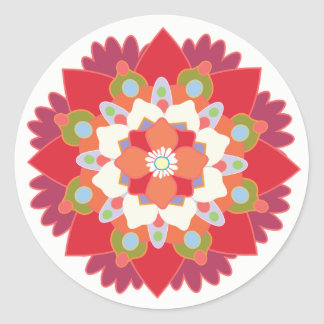 Colorful Red Floral Lotus Mandala Flower Sticker