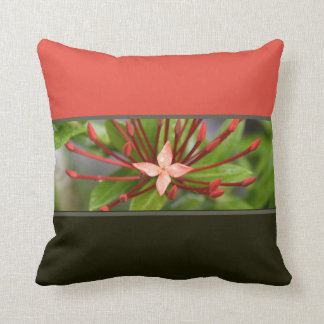 "Colorful Red Flower Panama Throw Pillow 16"" x 16"""