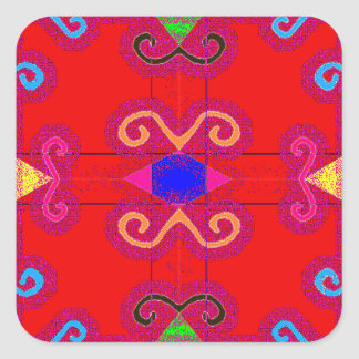 Colorful Red Geometric Mexican Style Envelope Seal