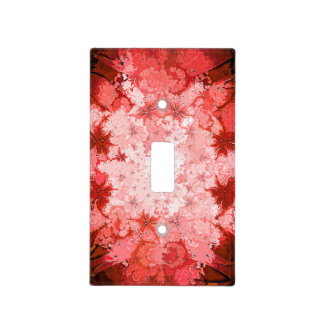 Colorful Red Kaleidoscope Abstract Fractal Pattern Light Switch Cover