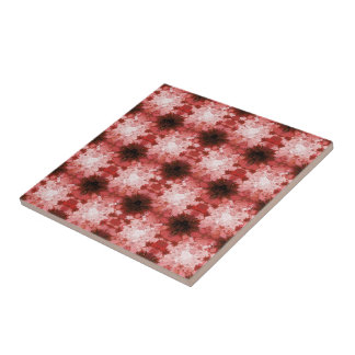 Colorful Red Kaleidoscope Abstract Fractal Pattern Tile