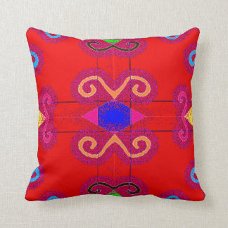 Colorful Red Mexican Style Tile Pillows