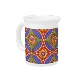 Colorful Red Rustic Circle Pattern Geometric Pitcher