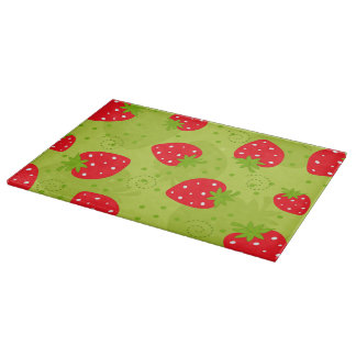 Colorful red strawberry pattern on green cutting board