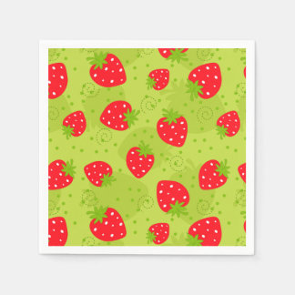 Colorful red strawberry pattern on green disposable napkin