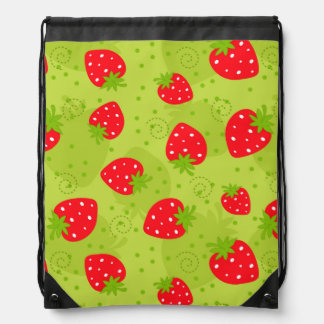 Colorful red strawberry pattern on green drawstring bag