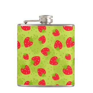 Colorful red strawberry pattern on green hip flask