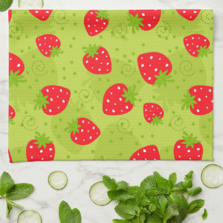 Colorful red strawberry pattern on green kitchen towel