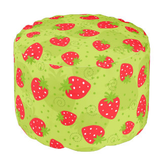 Colorful red strawberry pattern on green pouf