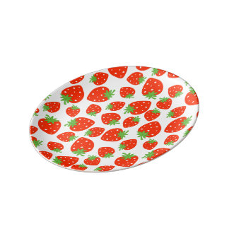 Colorful red strawberry pattern porcelain plate