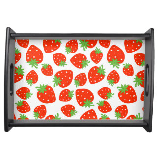 Colorful red strawberry pattern serving tray