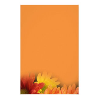 Colorful red, yellow and orange daisy flowers. custom stationery