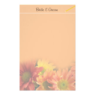 Colorful red, yellow and orange daisy flowers. personalized stationery