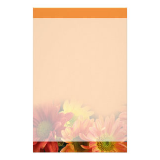Colorful red, yellow and orange daisy flowers. stationery paper