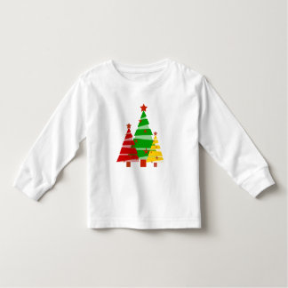 Colorful Red Yellow Green Christmas Trees Holiday Toddler T-shirt
