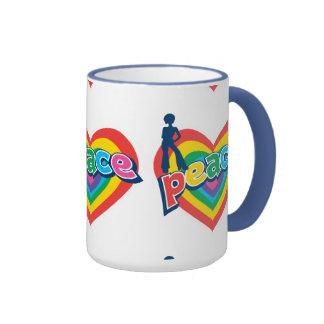 Colorful Retro 70's Design Love And Peace Ringer Coffee Mug