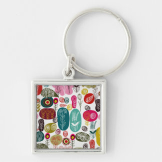 Colorful Retro Abstract Circular & Stars Pattern Silver-Colored Square Keychain