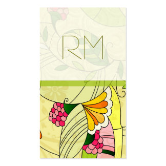 Colorful Retro Abstract Floral Collage Business Card Template