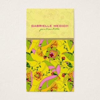Colorful Retro Art Deco Floral Collage Business Card