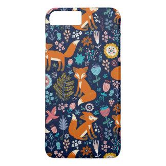 Colorful Retro Birds Foxes & Flowers Pattern iPhone 7 Plus Case
