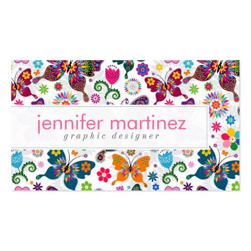 Colorful Retro Butterflies And Flowers Pattern Business Cards