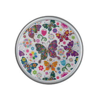 Colorful Retro Butterflies And Flowers Pattern Speaker