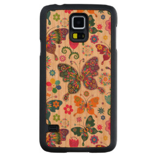 Colorful Retro Butterflies & Flowers Cherry Galaxy S5 Case