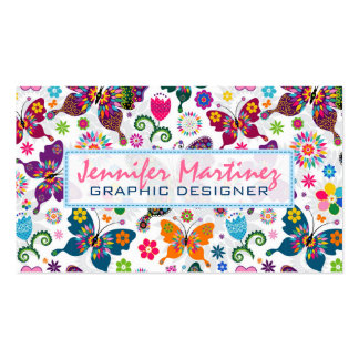 Colorful Retro Butterflies & Flowers Pattern 2 Business Card Templates