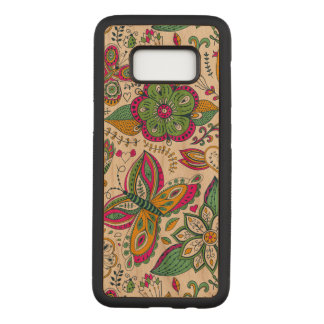 Colorful Retro Butterflies & Flowers Pattern Carved Samsung Galaxy S8 Case