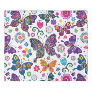 Colorful Retro Butterflies & Flowers Pattern Duvet Cover