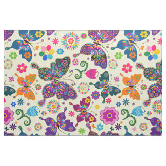 Colorful Retro Butterflies & Flowers Pattern Fabric