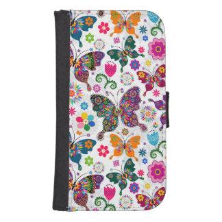 Colorful Retro Butterflies Pattern Galaxy S4 Wallet Case