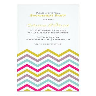 Colorful Retro Chevron Engagement Party Invitation