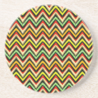 Colorful Retro Chevron Pattern Warm Tones Beverage Coasters