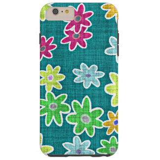 Colorful Retro Chic Faux Floral Textile Pattern Tough iPhone 6 Plus Case