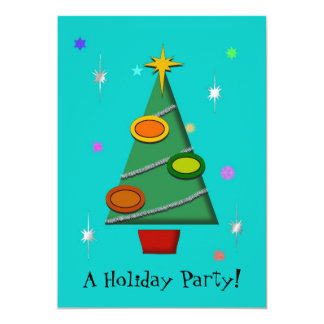Colorful Retro Christmas Tree Invitation