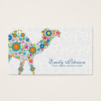 Colorful Retro Floral Camel & White Damasks Business Card