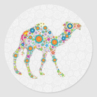 Colorful Retro Floral Camel & White Damasks Classic Round Sticker