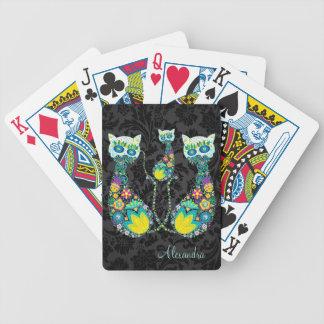 Colorful Retro Floral Cat-Custom Text Poker Deck