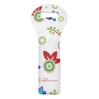 Colorful Retro Floral Custom Wine Tote