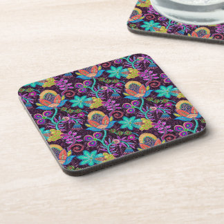 Colorful Retro Floral Design Glass Beads Look Drink Coaster