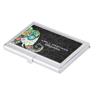 Colorful Retro Floral Elephant & Black Damasks Business Card Holder