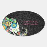Colorful Retro Floral Elephant & Black Damasks Stickers
