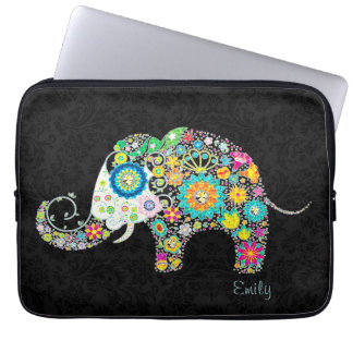 Colorful Retro Floral Elephant Laptop Sleeve